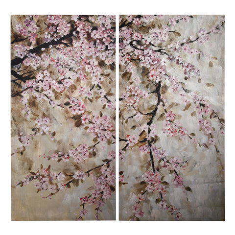 Art Painting - Pink Cherry Blossom Print Painting