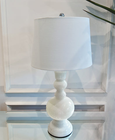 White Table lamp - Vintage unique apothecary style in modern white glass