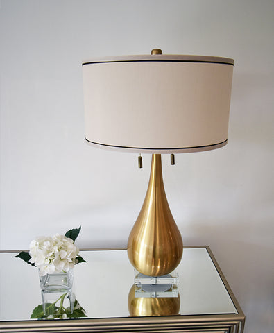 Vintage Gold Table Lamp with Duo Lights and Chains