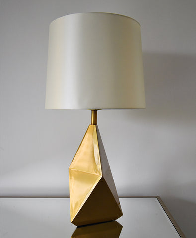 Prism lamp with antiqued gold polish finish
