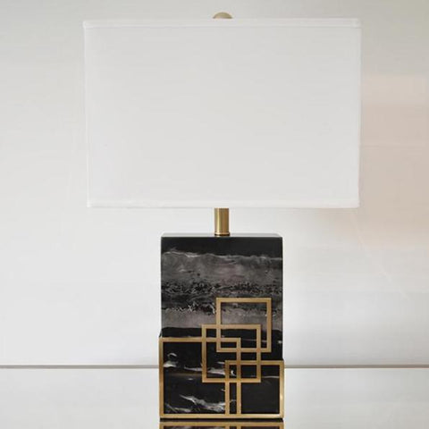 Marquis Black Marble Gold Accent Table Lamp