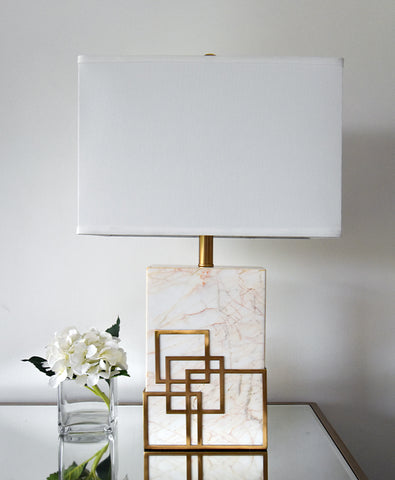 Marquis White Marble Gold Accent Table Lamp