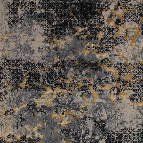 Alperen Luxe Gold Black Rug, in 3 Sizes