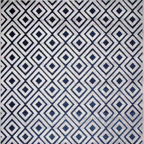 Modern Tessellation Grey Blue Rug, in 2 Sizes, made in Turkey