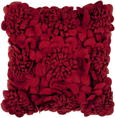 Petals Wool Cushion in Red