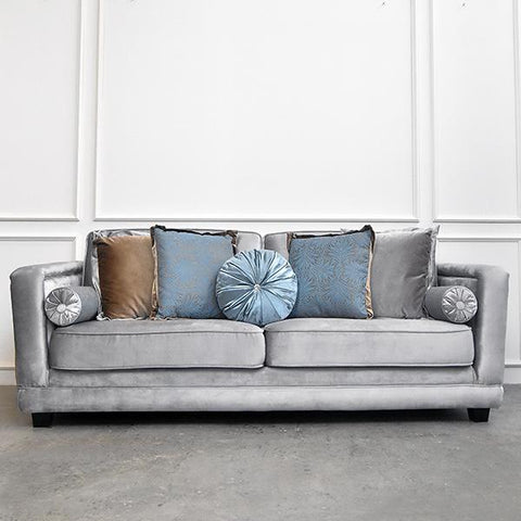 Adaliz I Tufted Sofa, 3-seater-plus, Silver Satin