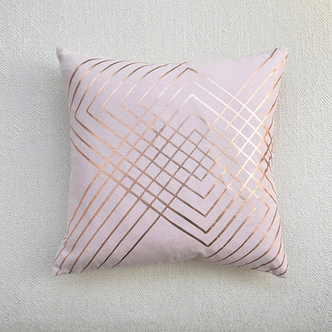 Gold Luxe Collection - Aix Rose Gold on Pink Down Feather Cushion