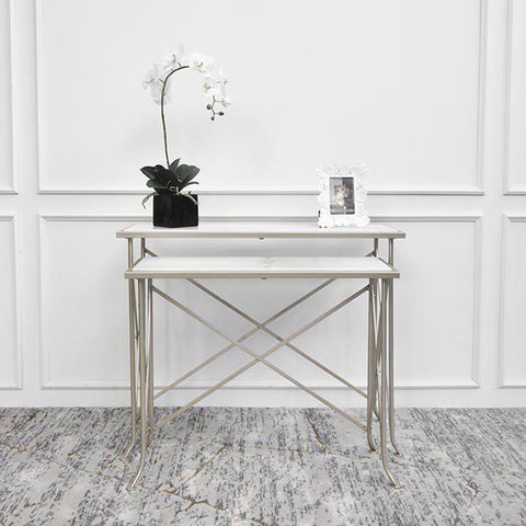 Allurist Marble White Gold Console Table