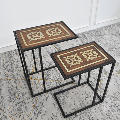 Altesse Brass Inlaid Nesting End C-Shaped Table , Two Sizes
