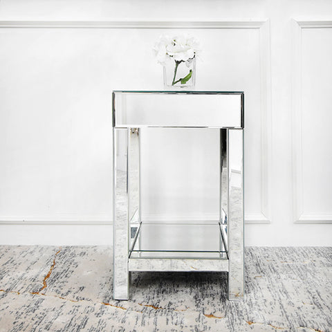 Square Mirrored Side Table and Nightstand