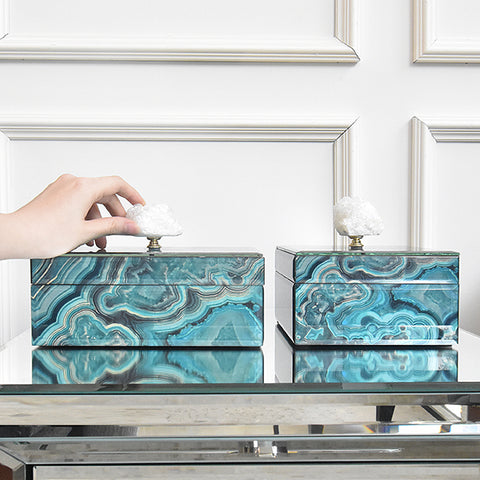 Artemis Marbled Trinket Box with Natural Stone, Blue Swirls, Two Sizes
