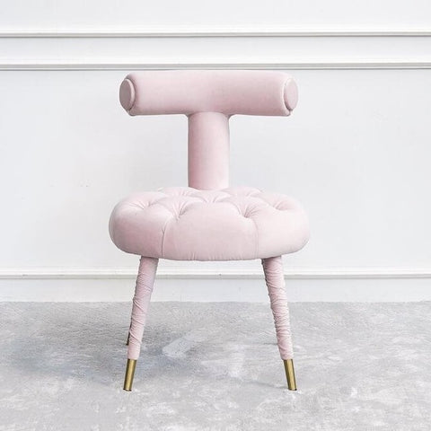 Abbey Vanity Chair, Tufted Blush Pink Gold Feet