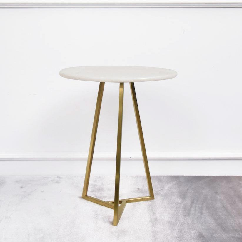 Aleta Marble Gold Side Table Round Finn Avenue
