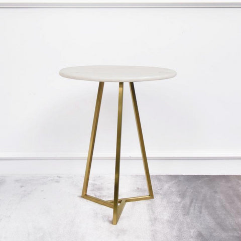 Aleta Marble Gold Side Table, Round