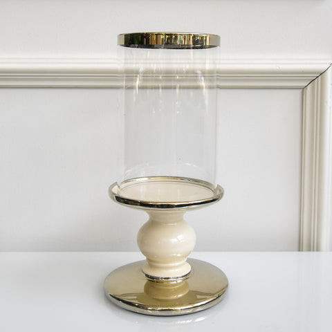 Alexi Pedestal Hurricane Candle Holder, Gold