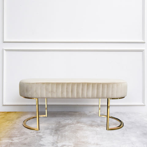 Allure Gold Velvet Ottoman Bench Curved Legs