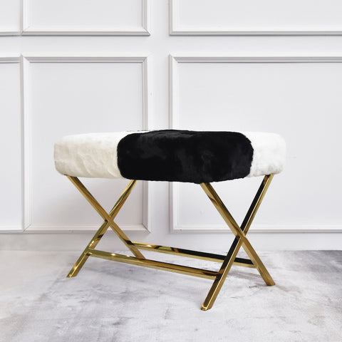 Antoine Black White Fur Gold Stool, Rectangular