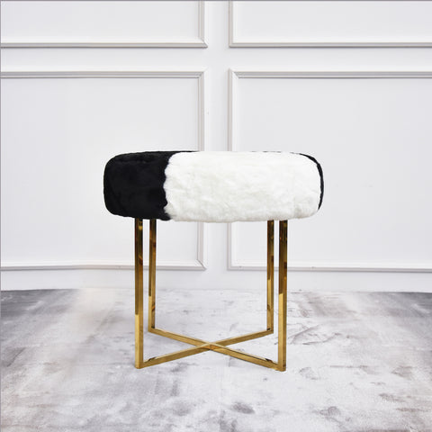 Antoinette Fur Gold Dresser Stool in Black White, Round