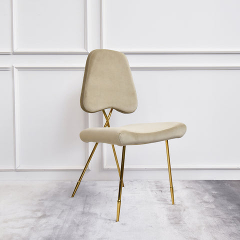 Artus Gold Chair, Champagne Velvet