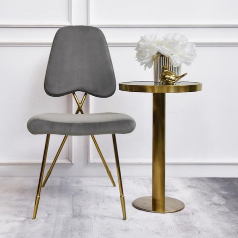 Artus Gold Chair, Grey Velvet