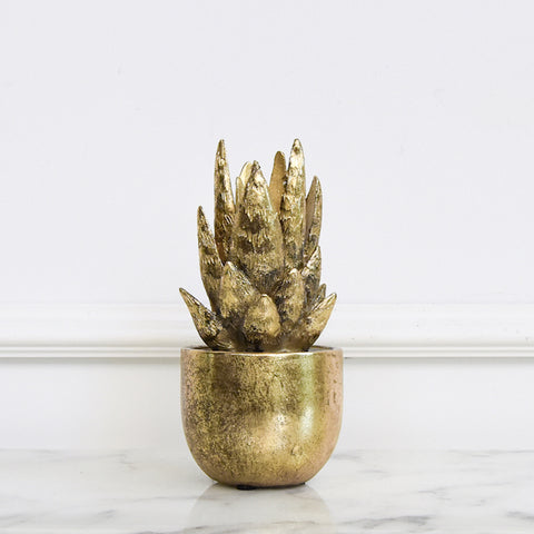 Athena I Gold Succulent Decor