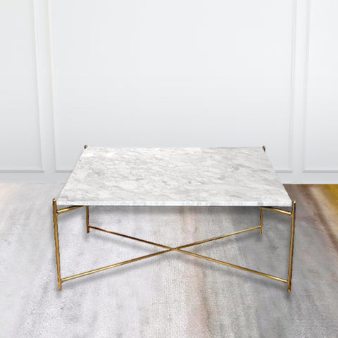 Atlas White Marble Coffee Table, Square