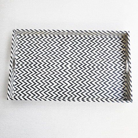Hugo Chevron Tray, Black & White, Rectangular