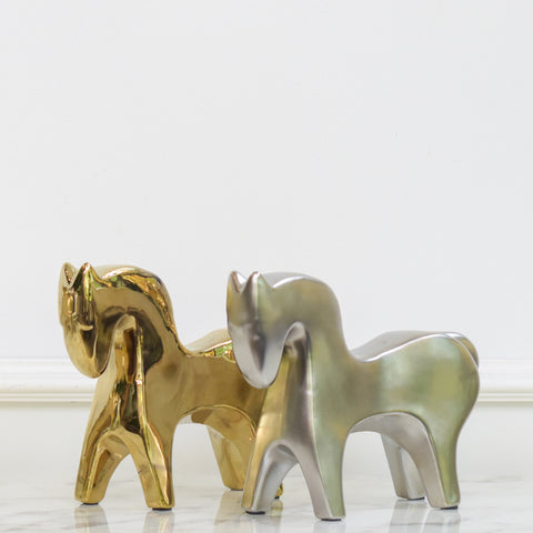 Horse Sculpture Decor, Gold & Silver