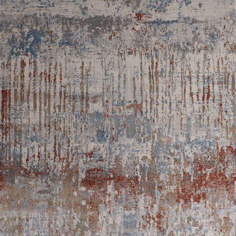 Abstract art rug with red blue taupe and grey hues