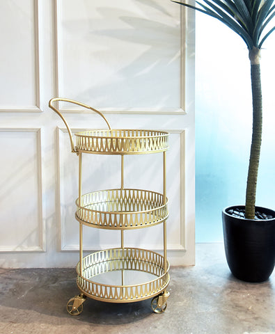 Voletta gold round bar cart with mirror trays