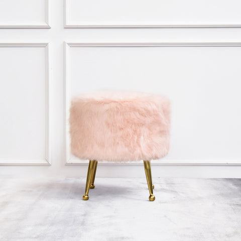 Belluci Pink Fur Gold Stool ottoman