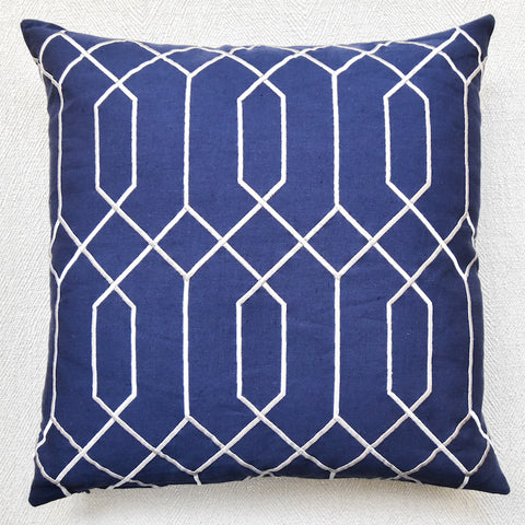 Cobalt-Gray Linen Down Feather Cushion-Modern II ( New Design)