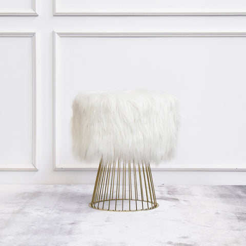 Bouffant White Fur Gold Stool