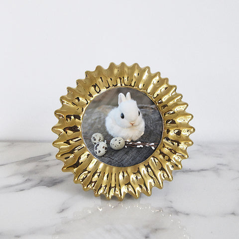 Photo Frame Gold Vintage Round Photo Frame, Petite 3x3'