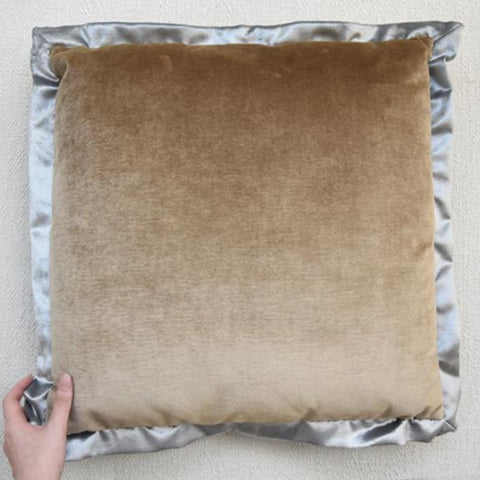 Brown Silver Velvet Flanged Cushion