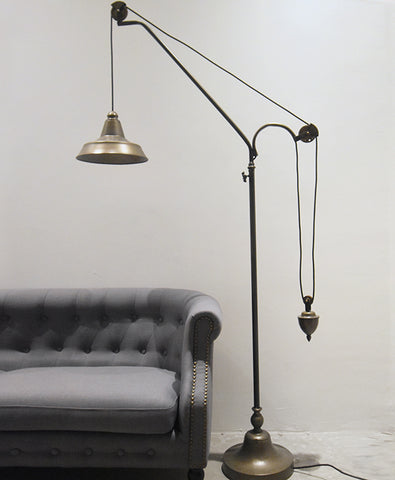 Counterbalance Bunker Floor Standing Lamp in Brass Finish