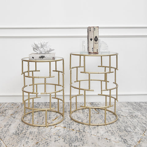 Charme Gold Glass Nesting End Table, Two Sizes