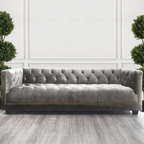 Customized Chesterfield Sofa, 3-seater-plus in Taupe