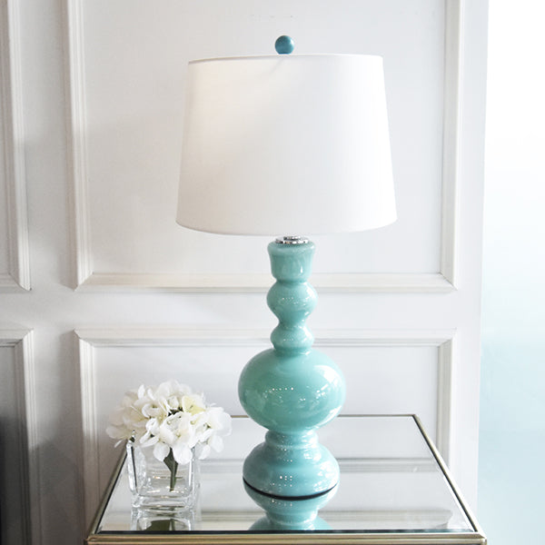 Table lamps online home decor finnavenue finn avenue apothecary glass base table lamp in turquoise aloadofball Image collections