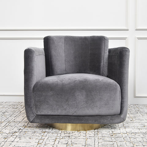Clyde Curved Velvet Gold Armchair, Grey