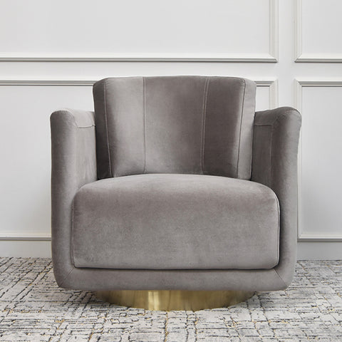Clyde Curved Velvet Gold Armchair, Taupe
