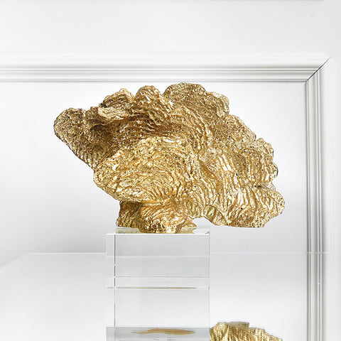 La Mer II Gold Coral Sculpture Decor, Crystal