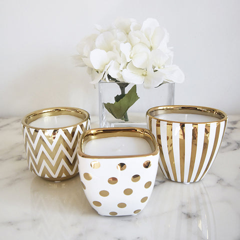 Scented Candles with Gold Trim Holders
