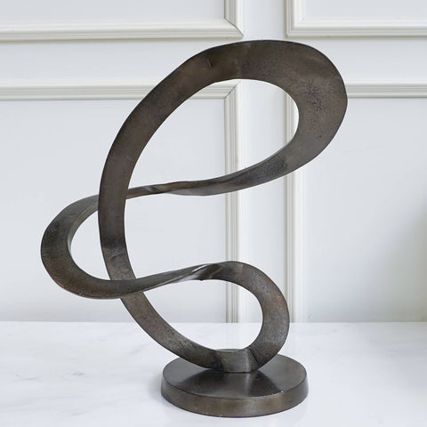Cardevac Black Art Sculpture on Base, Aluminium on marble console  table top
