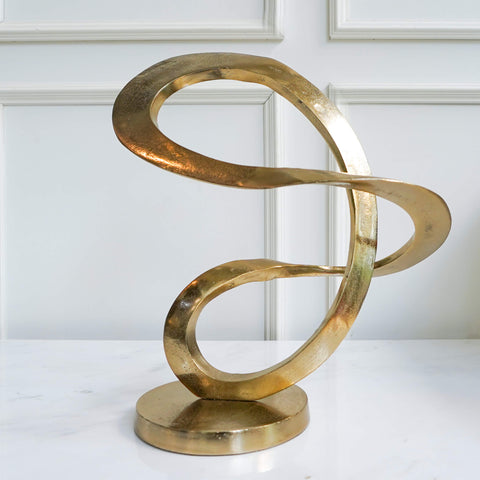 Artistic Gold Art Sculpture for Shelf Decor and Console Table Decor in Living Room