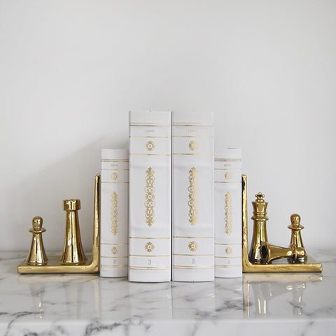 Home & Decor - Gold Chess Piece Bookend (Set of 2)