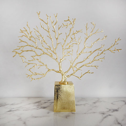 Gold coral reef accent sculpture that is great as table art, bookshelf decor or console decor, and as a lucky charm to bringing prosperity to the home.