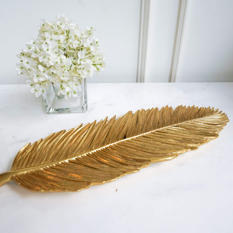 Bird of Paradise Leaf Tray in Gold Finish