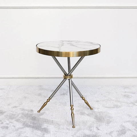 Cristian White Marble Side Table Gold Tripod Legs