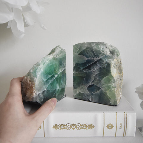 Green Flourite Crystal Bookends as table and console decor